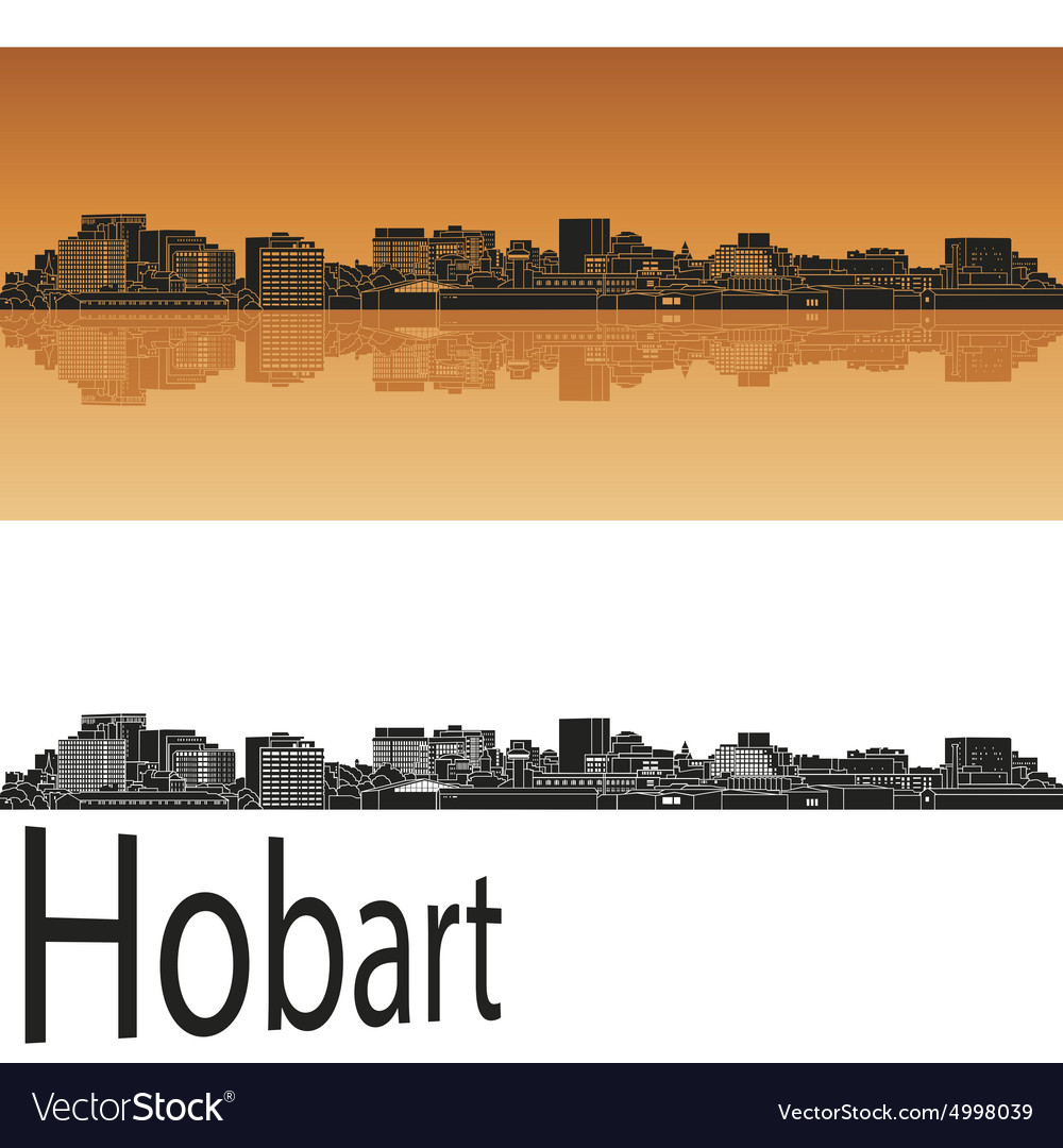 Hobart skyline in orange