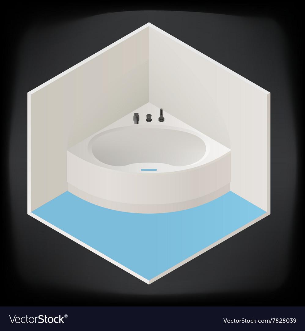 Jacuzzi corner bath isometric Royalty Free Vector Image