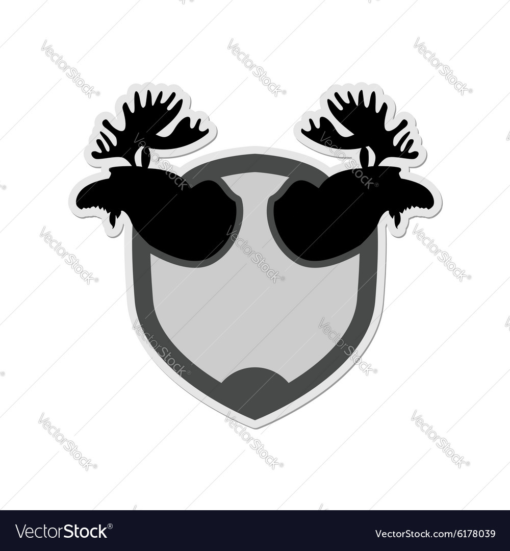 Logo Moose head on a shield Emblem for hunting