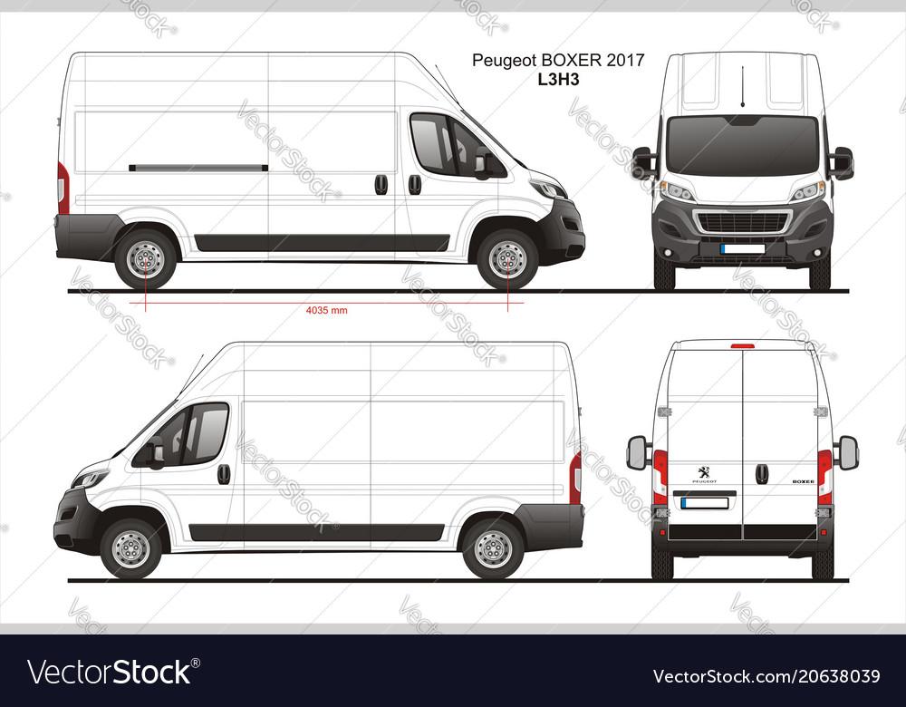 peugeot boxer cargo delivery van 2017 l3h3 vector image. Black Bedroom Furniture Sets. Home Design Ideas
