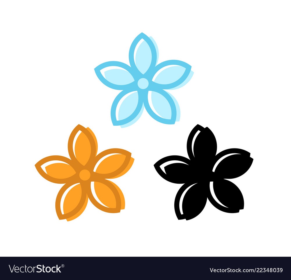 Set of flower icons with five petals