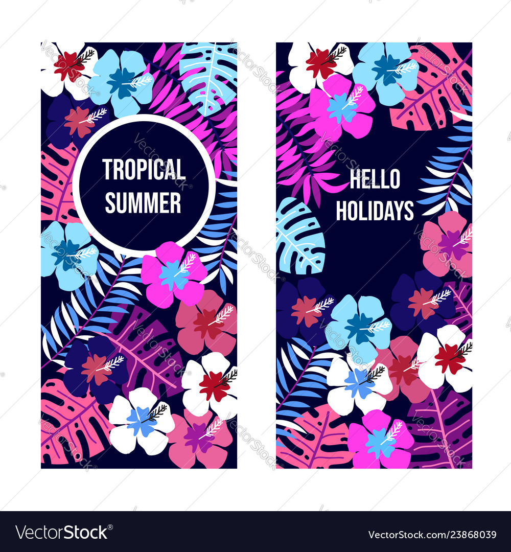 Summer banners with tropical leaves and flowers