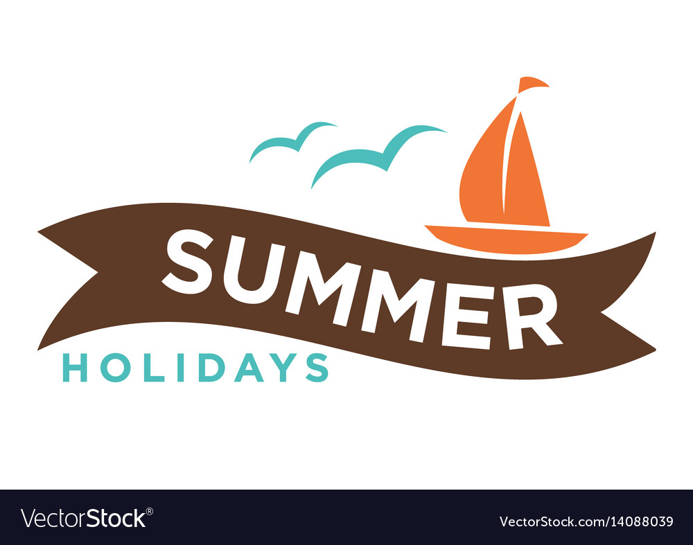 Summer holidays logo with ship and seagulls