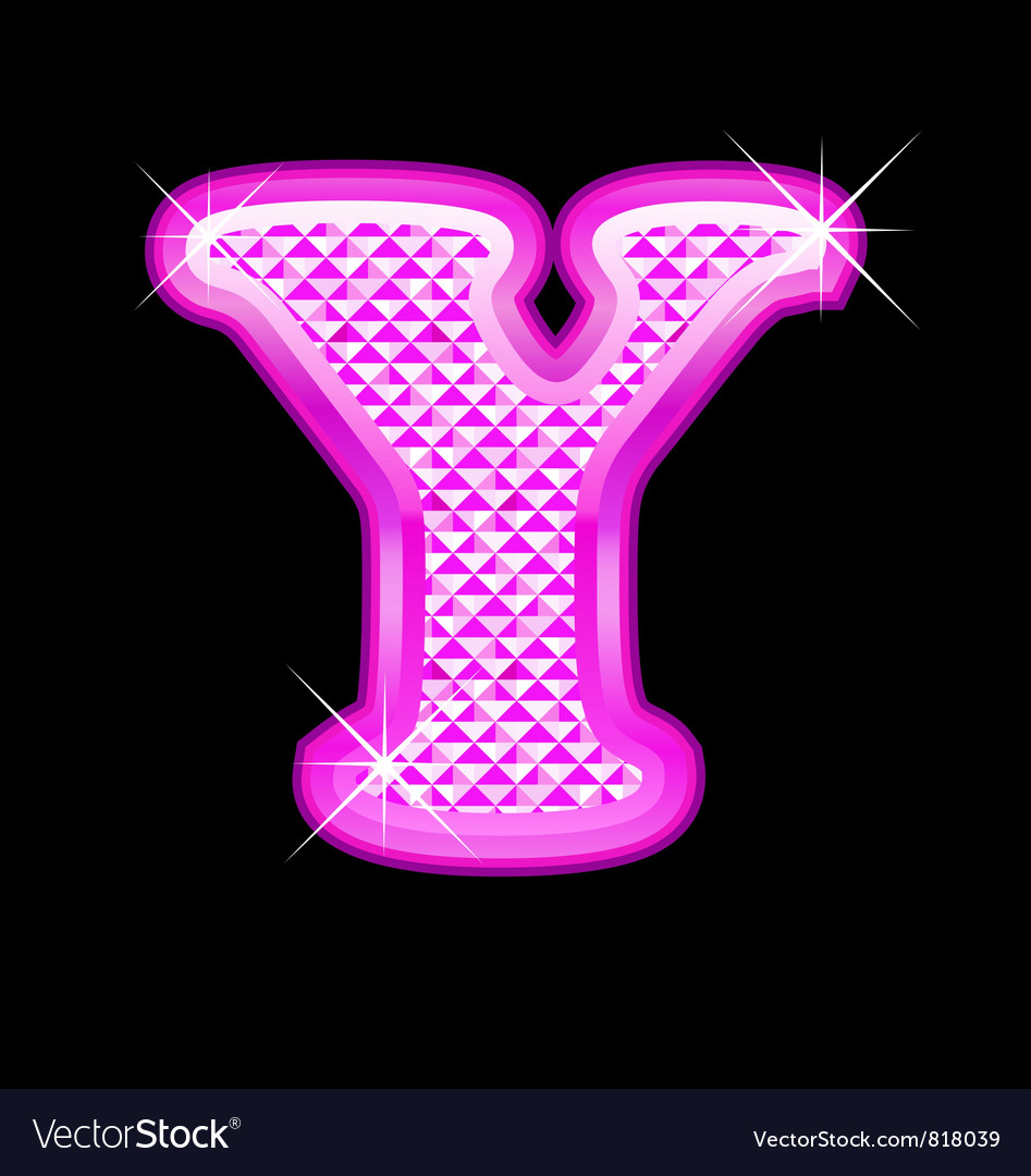 Y letter pink bling girly