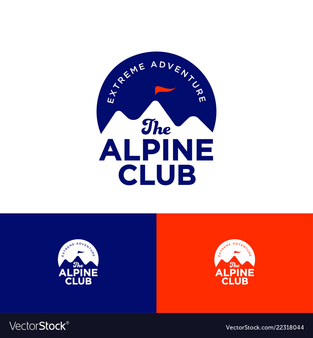 Alpine club logo mountains peaks on circle