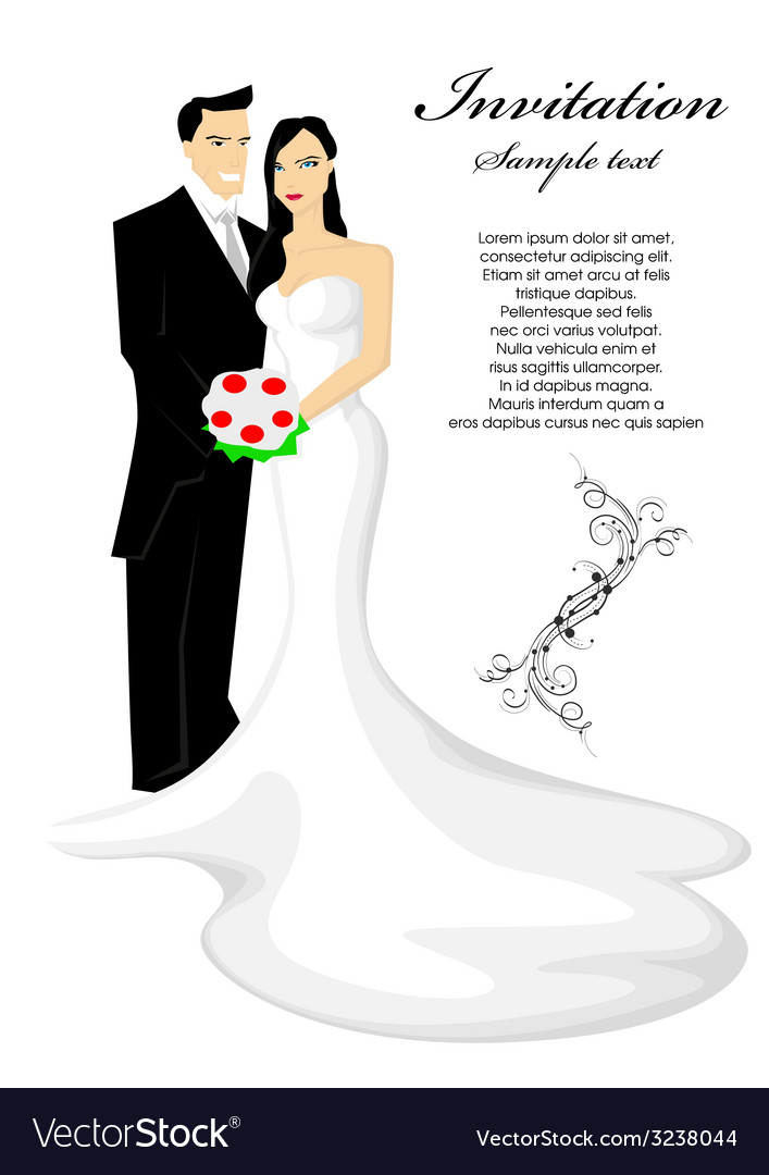 bride and groom royalty free vector image vectorstock rh vectorstock com bride and groom silhouette vector free download bride and groom vector png