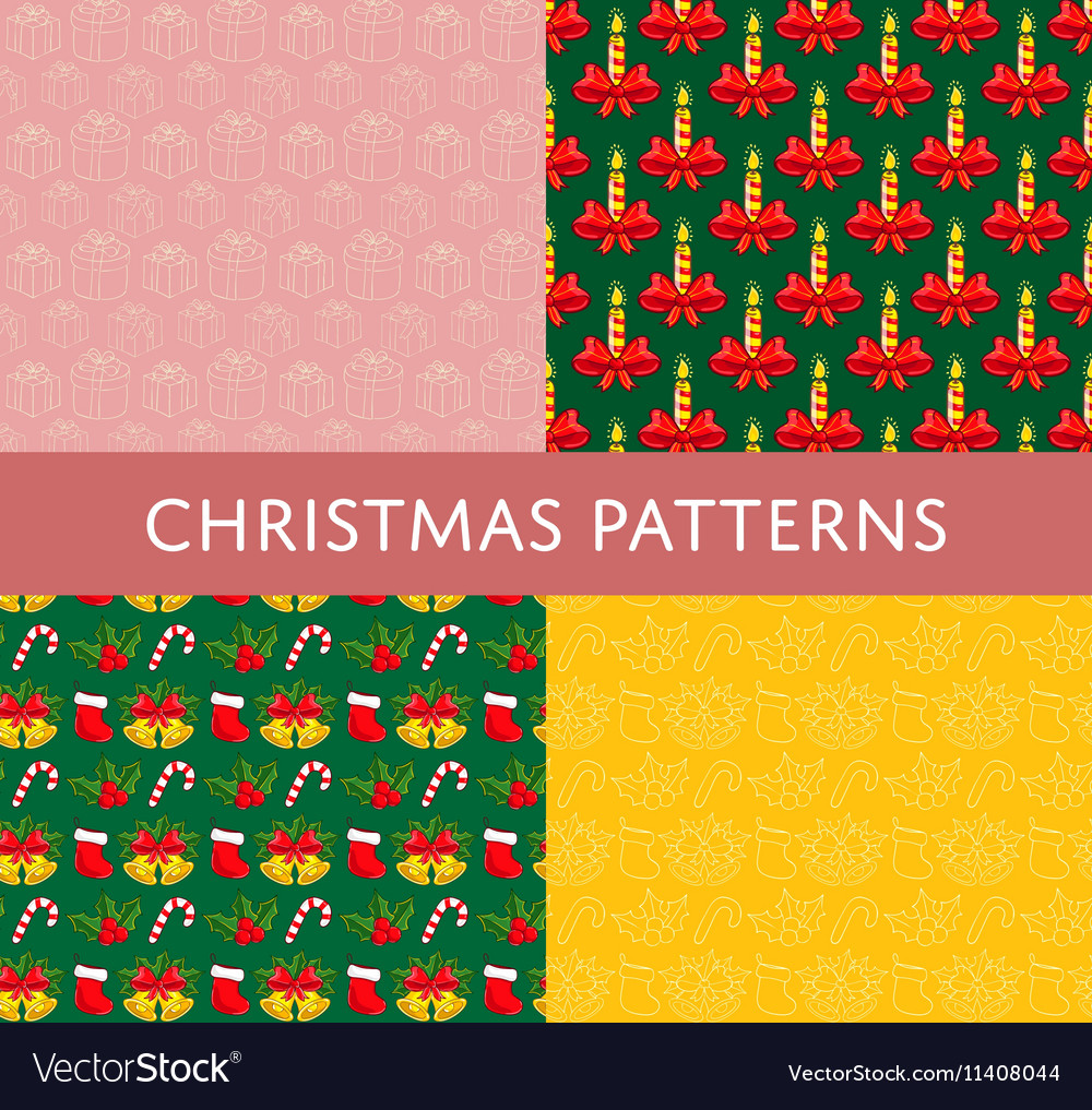 Christmas Colorful Seamless Patterns Set