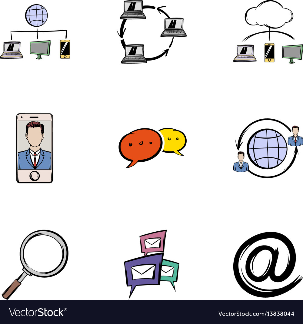 Conversation icons set cartoon style vector image