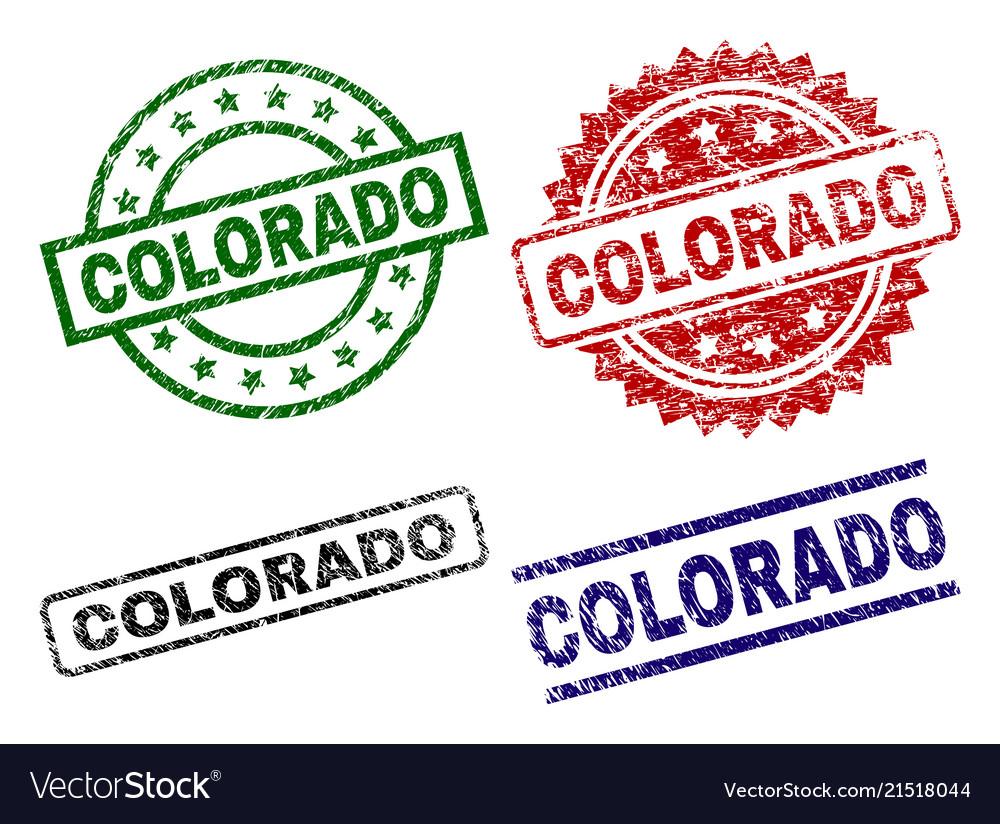 Damaged Textured Colorado Stamp Seals Vector Image