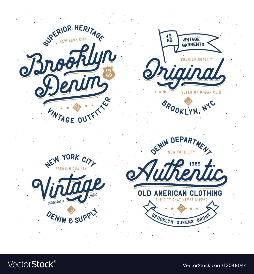 Denim typography t-shirt design set