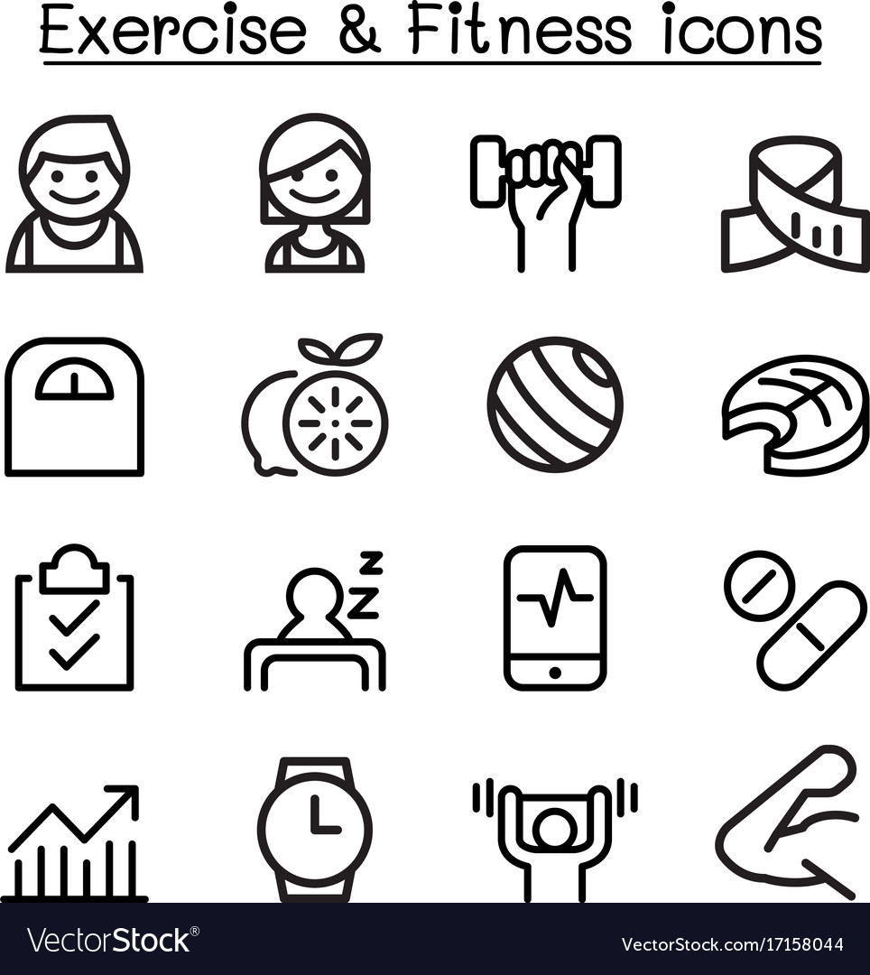 Exercise fitness icon set in thin line style