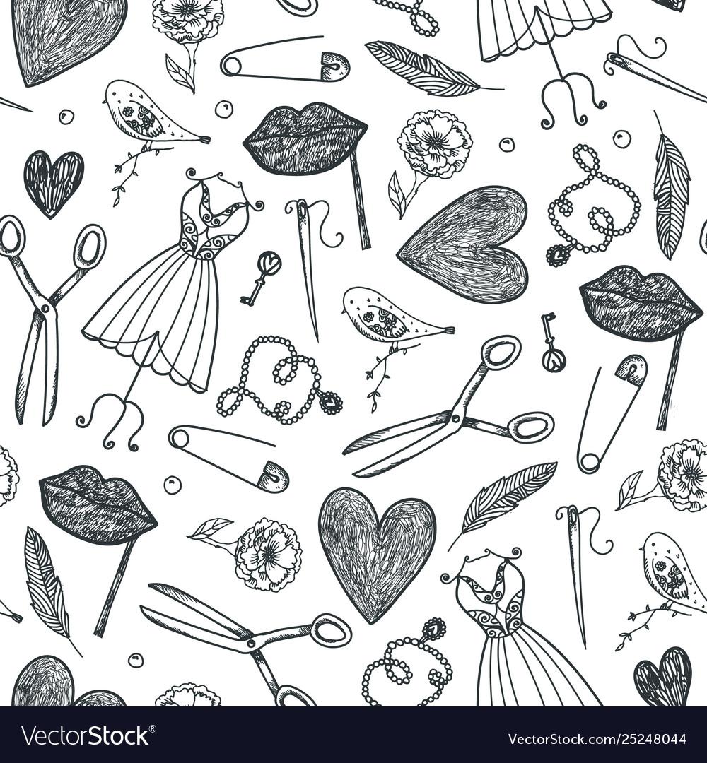 Hand drawn doodle seamless pattern black