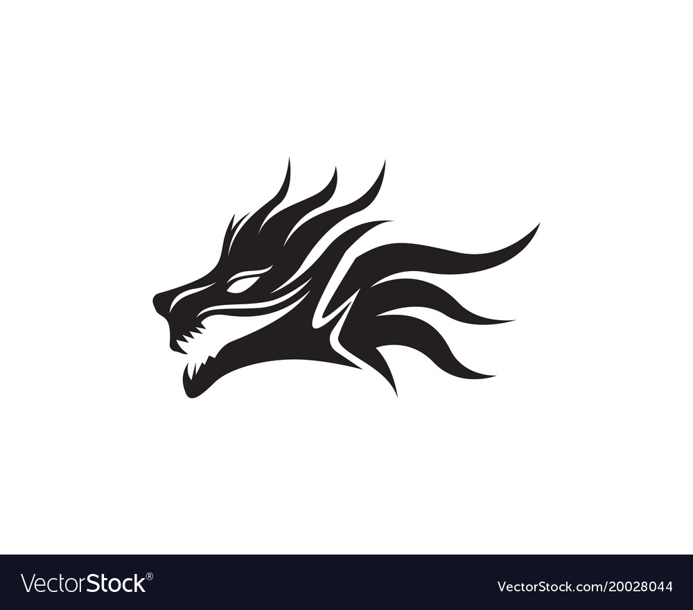 head dragon flat color logo template royalty free vector