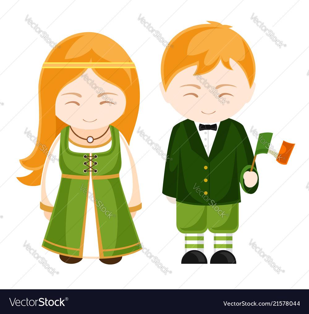 Irish girl and boy in national costume irish