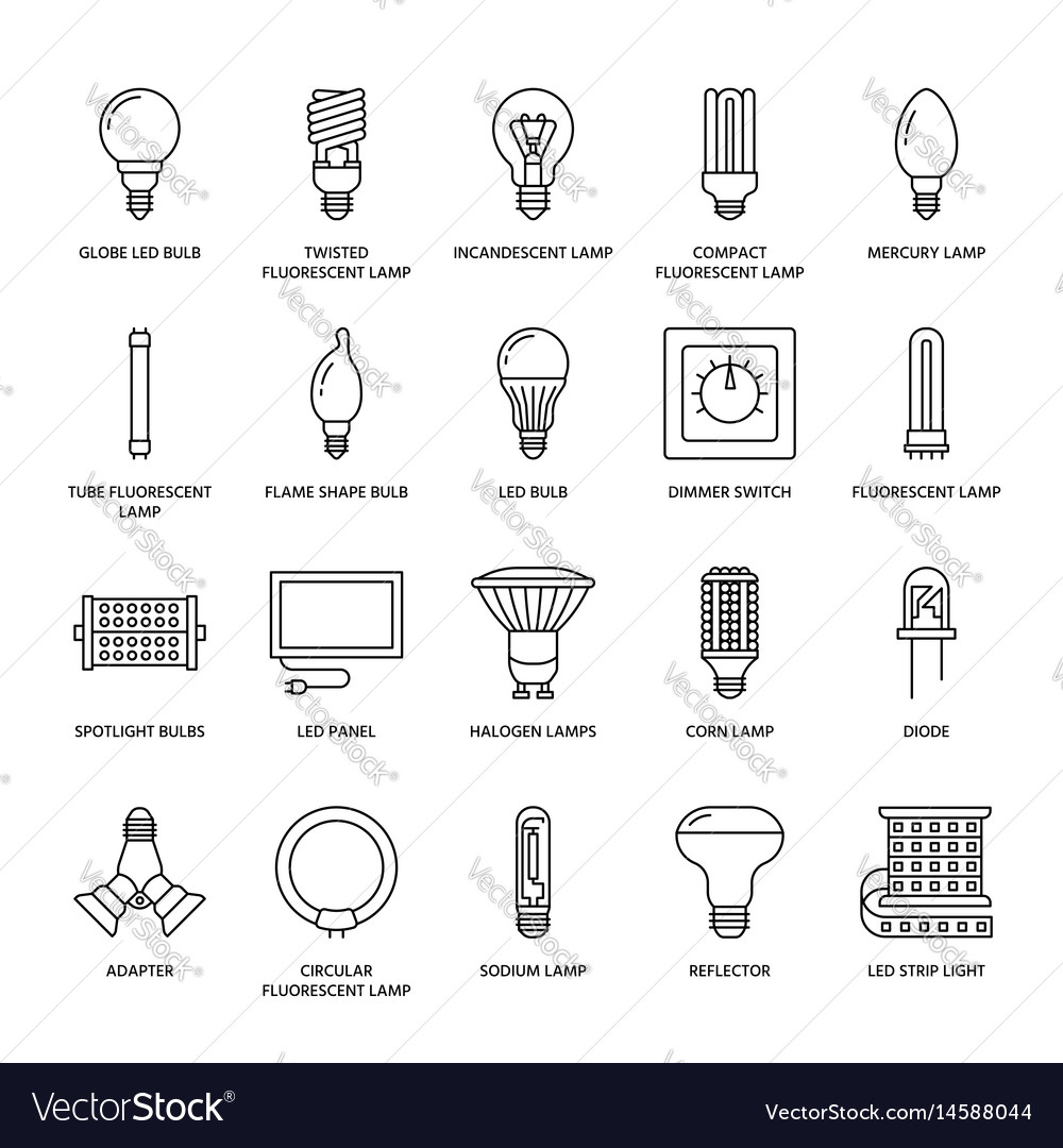 Light Bulbs Flat Line Icons Led Lamps