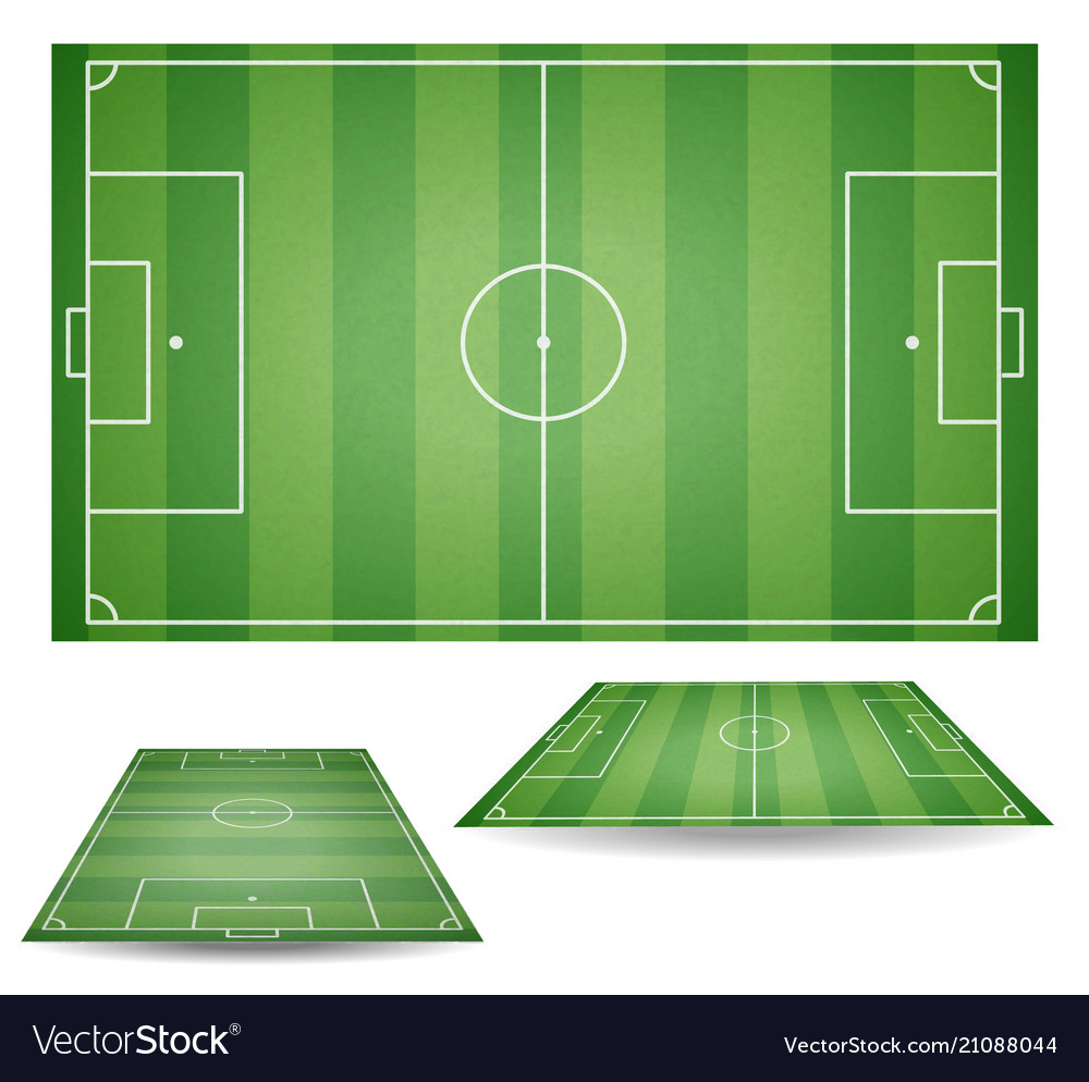 Set of top and side view of football fields textu