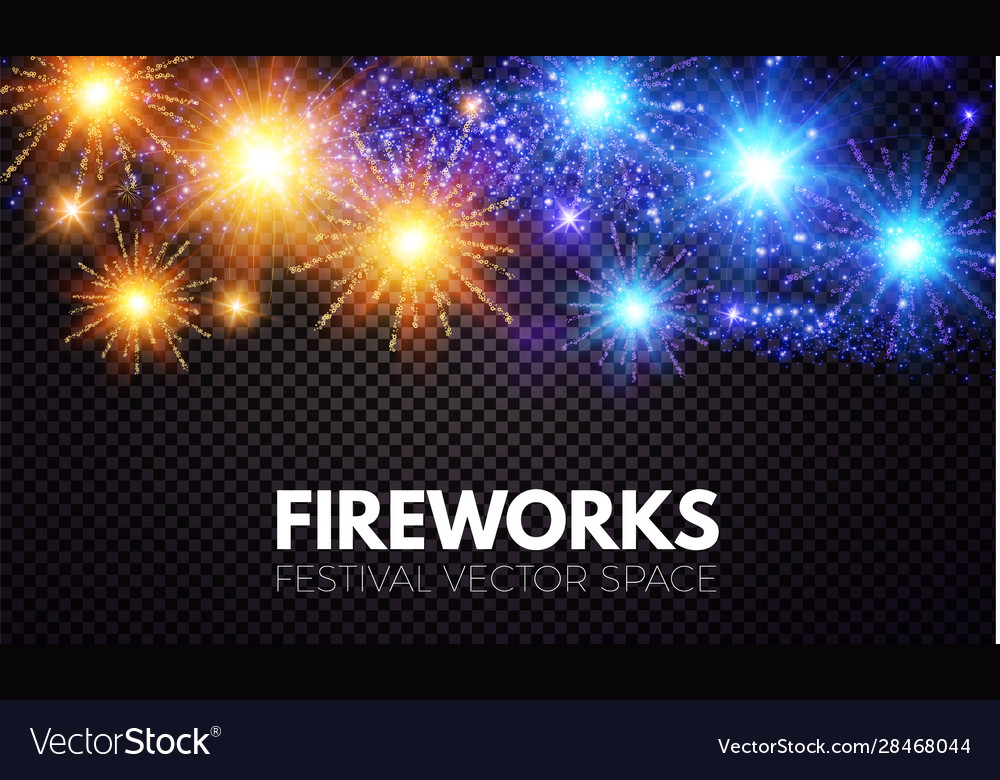 Shining fireworks on transparent background