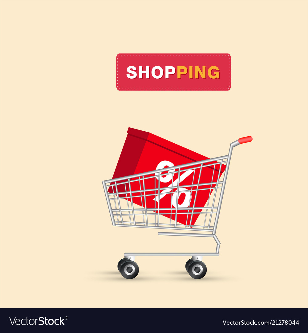 Shopping box in cart background image