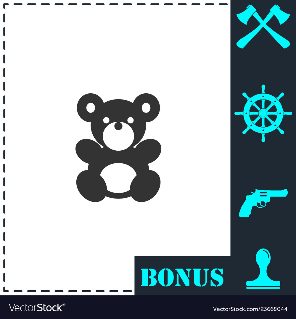 Teddy bear icon flat
