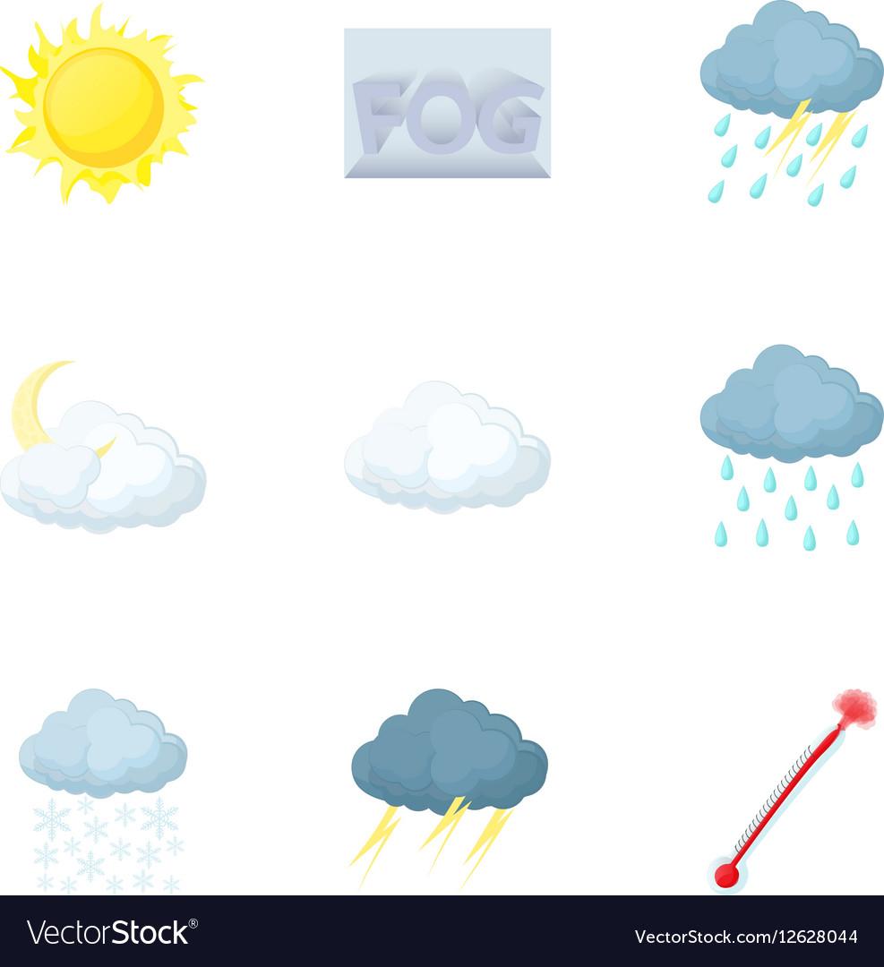 Weather forecast icons set cartoon style vector image