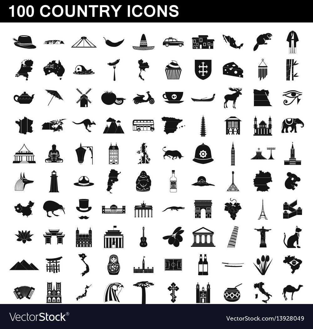 100 country icons set simple style