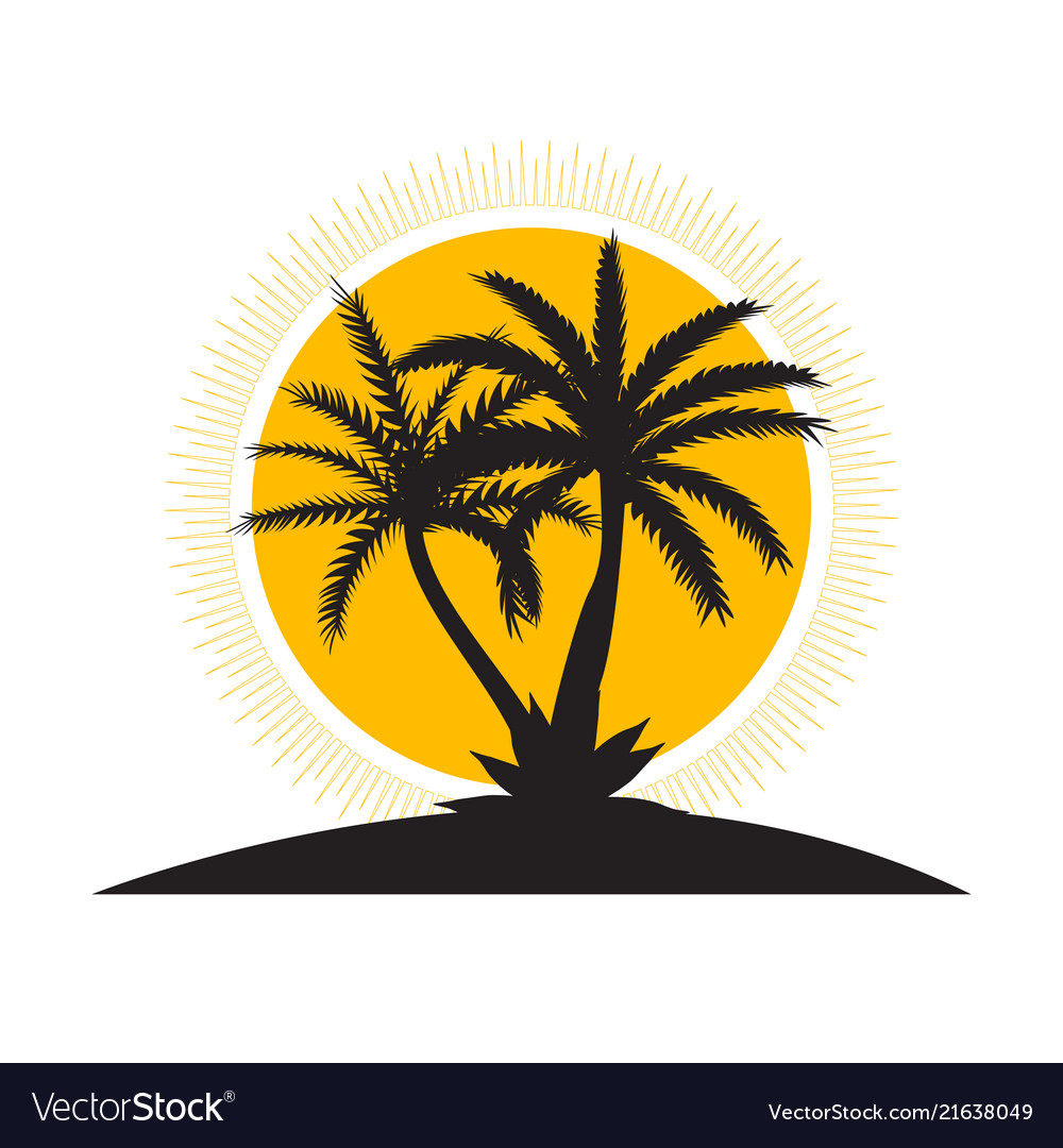 Beautiful palm tree icon silhouette background
