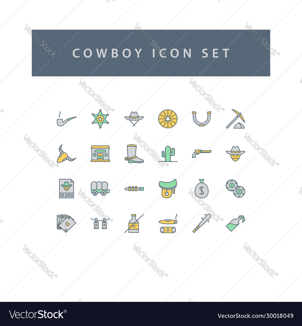Cowboys icon set with filled outline style design