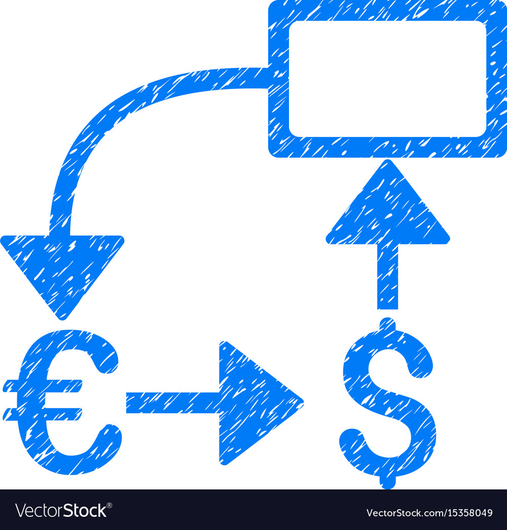 Euro dollar flow chart grunge icon vector image