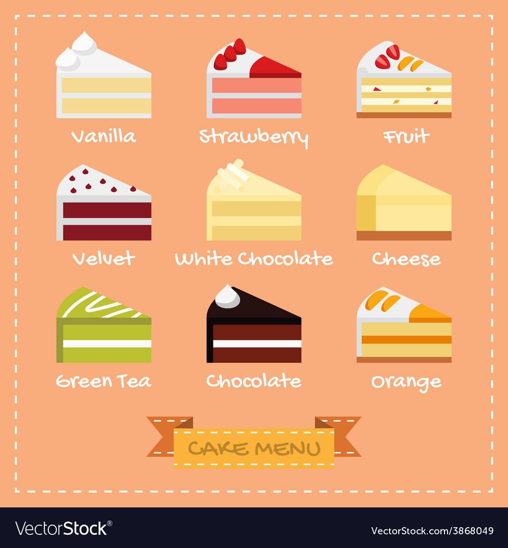 Flat Design Of Cake Menu Royalty Free Vector Image