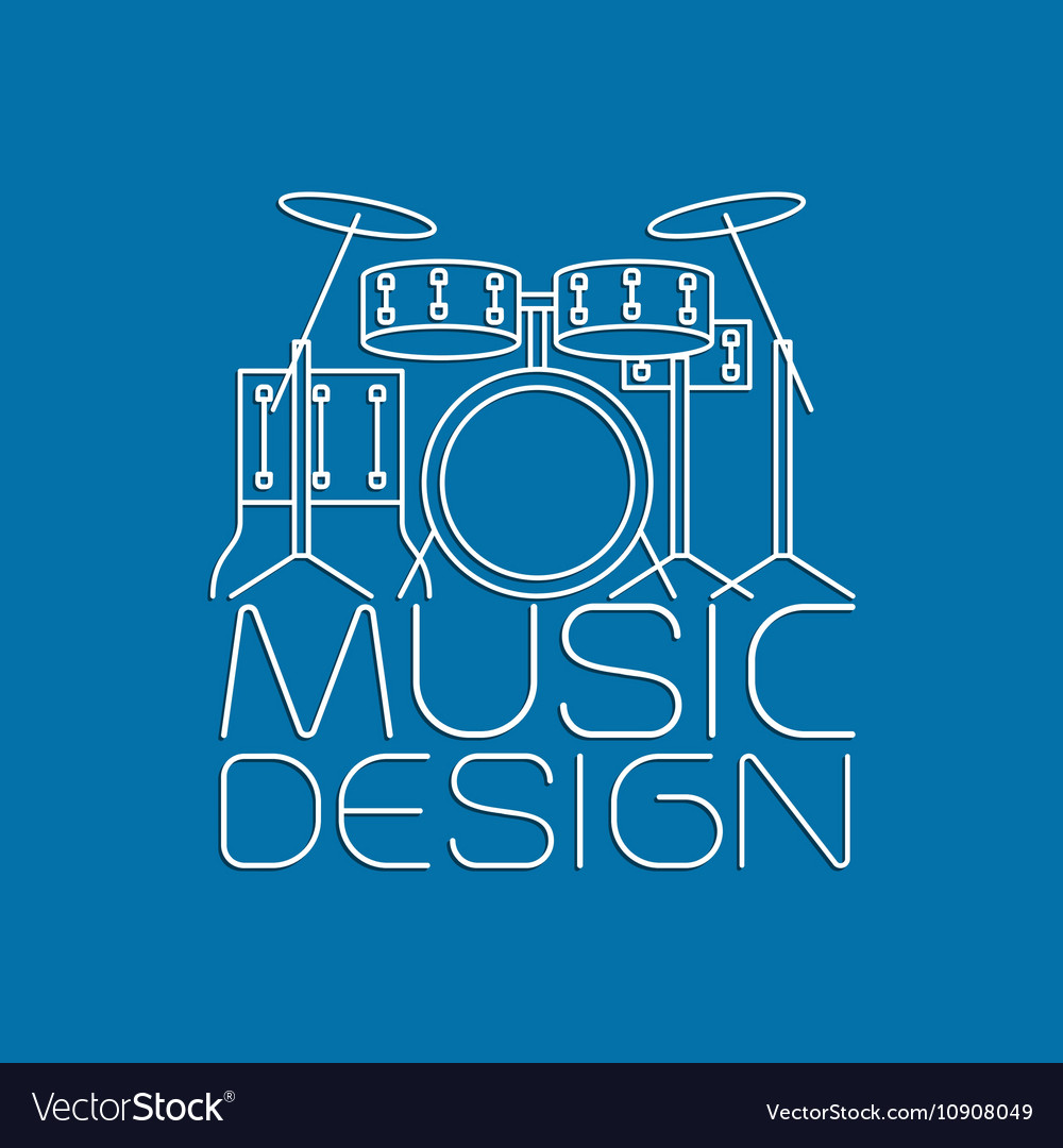 Music design with drum kit logo