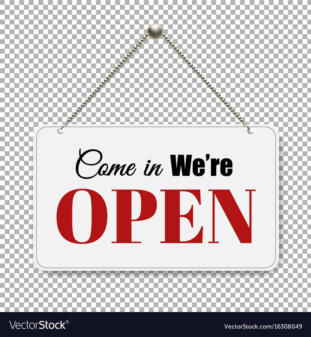 Open Sign With Transpa Background Vector Image