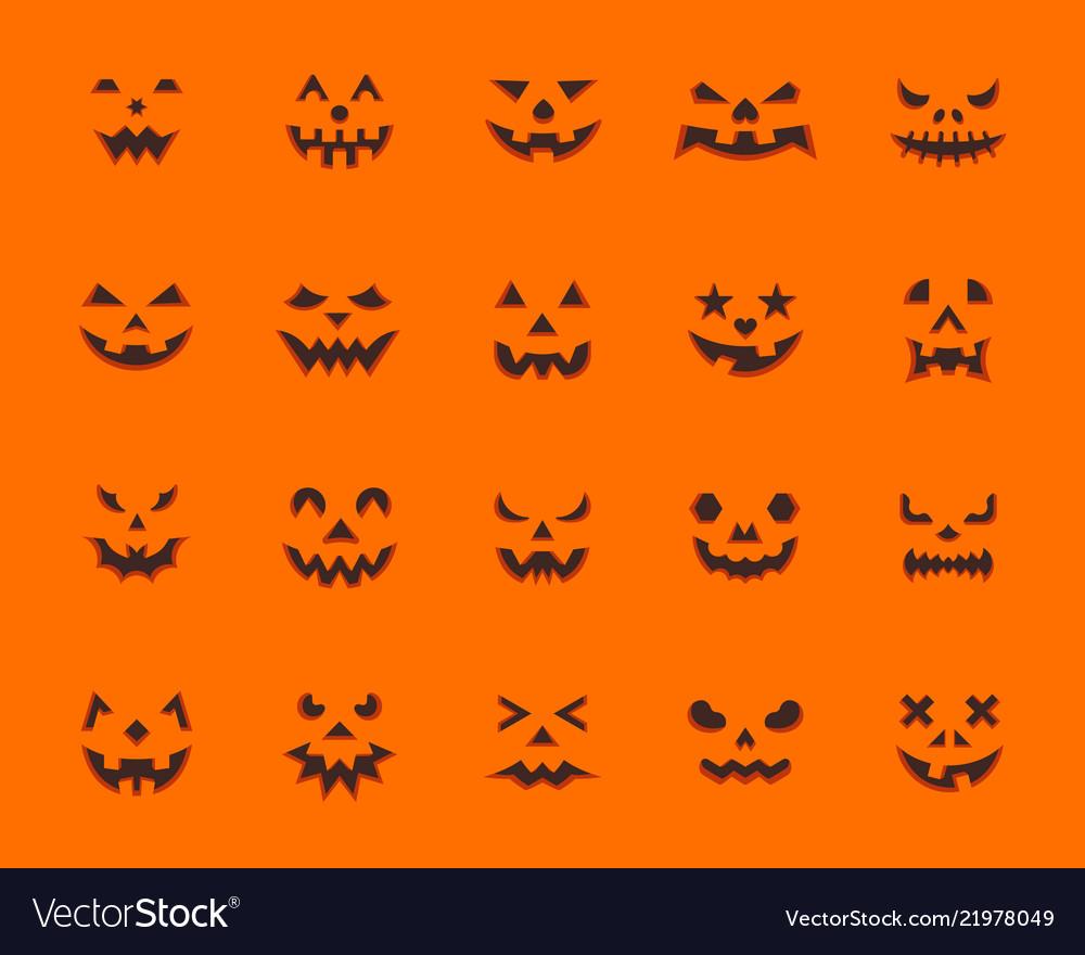 Pumpkin face simple flat color icons set
