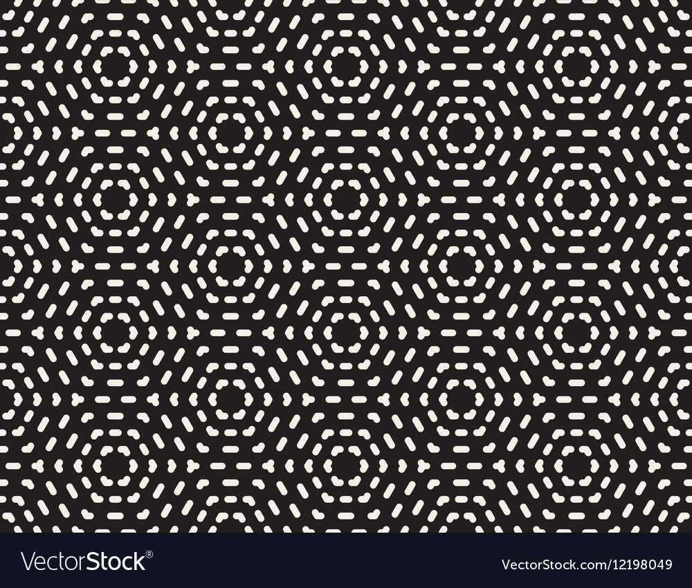 Seamless Black And White Hexagonal Dashed