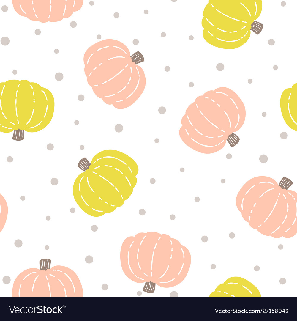 Seamless pattern with colored pumpkins on white