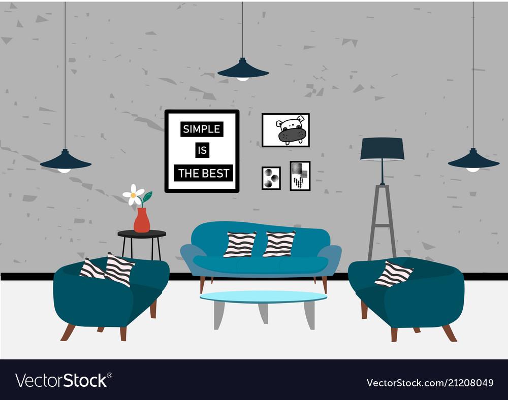 Set of elements for minimal modern living room