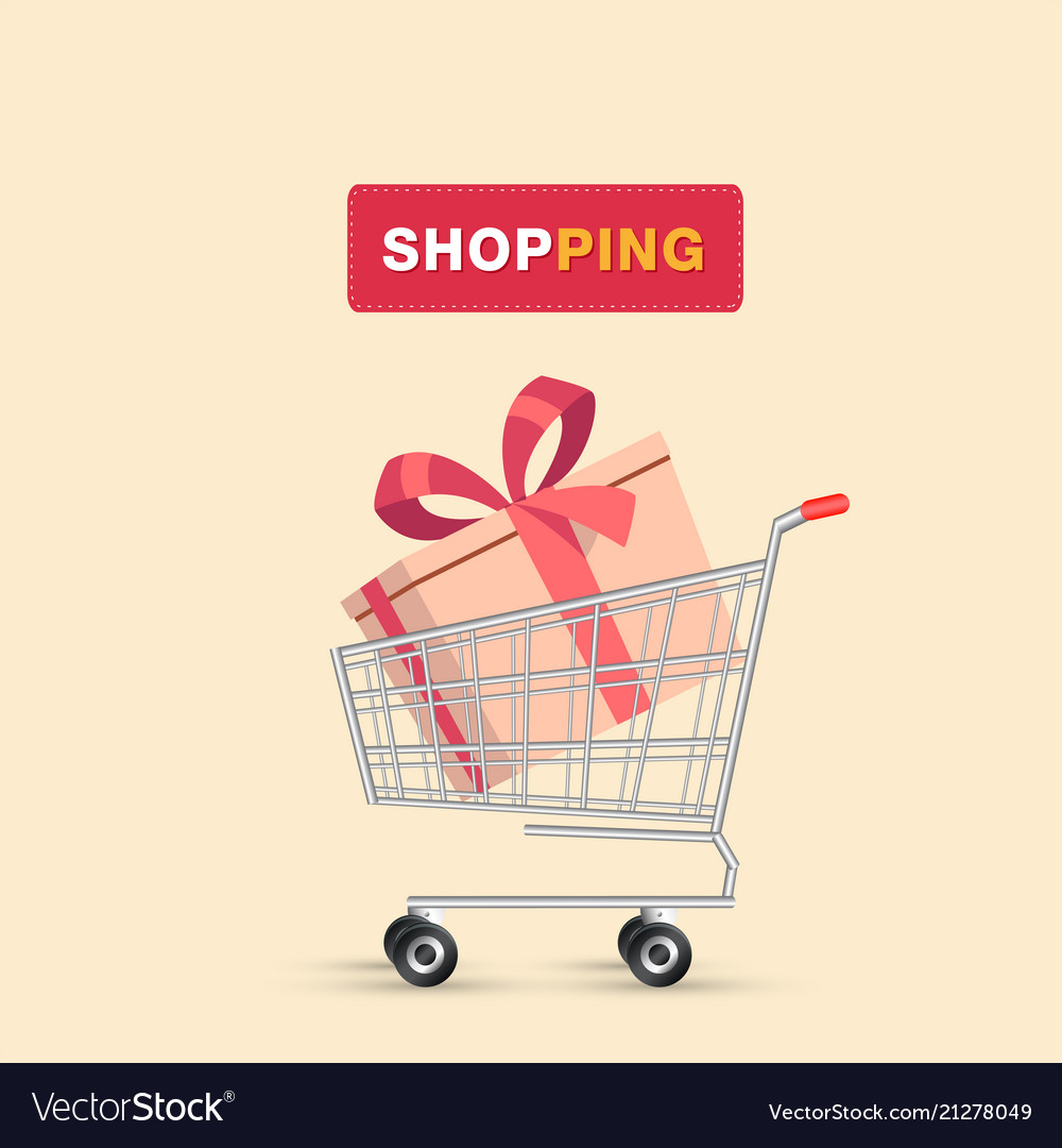 Shopping gift box in cart background image