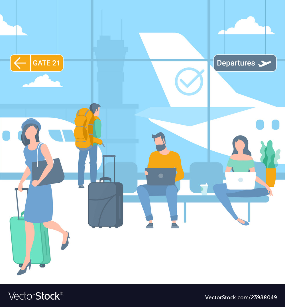 Travellers at airport departure area