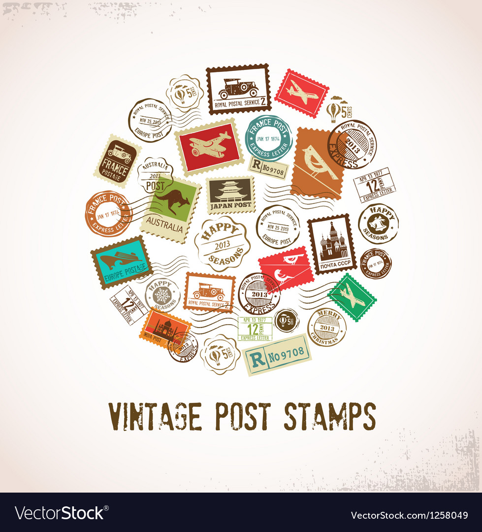 Vintage background with rubber stamps