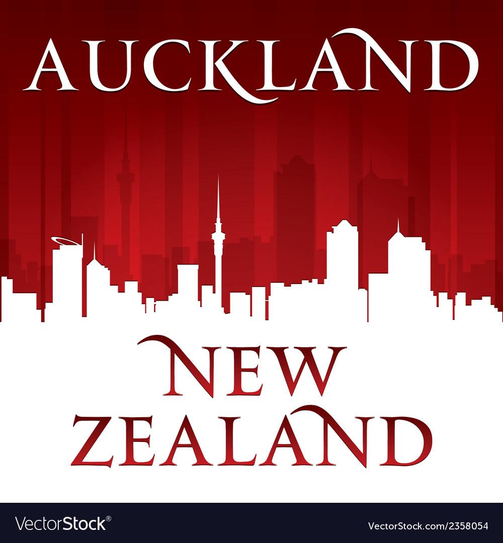 Auckland New Zealand city skyline silhouette