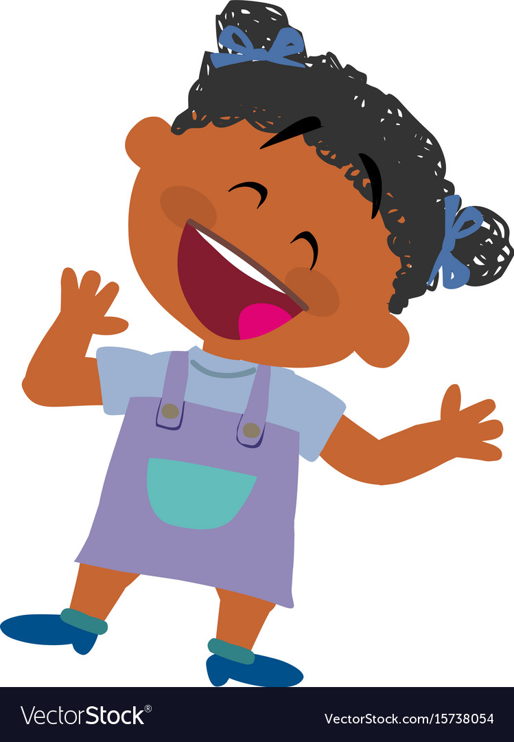 Cartoon character of a cheerful black girl vector image