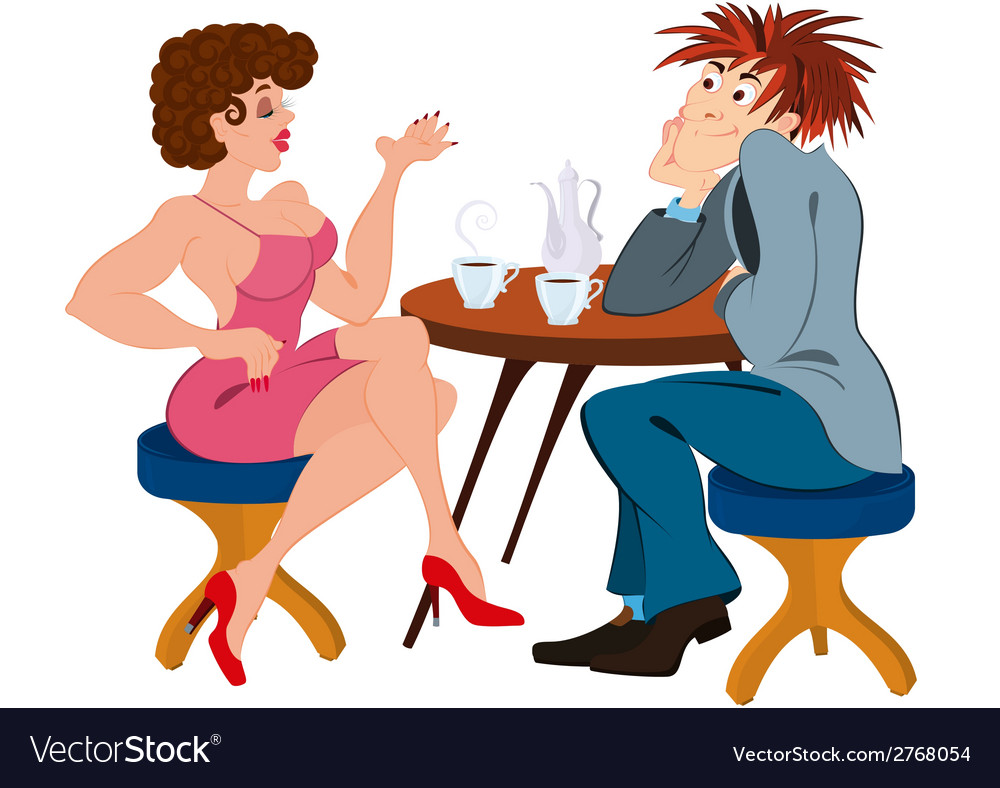 Cartoon couple sitting near the table and drinking vector image