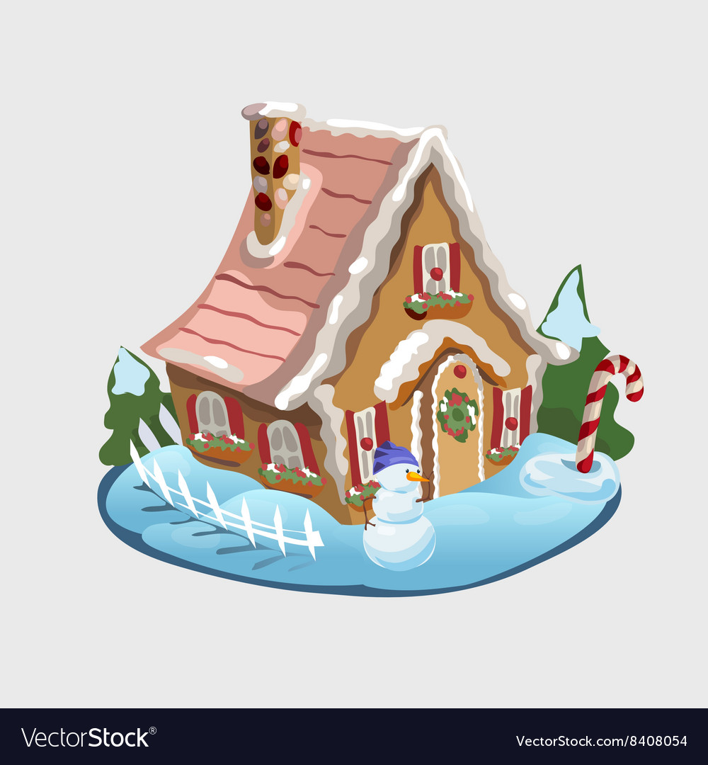 Christmas gingerbread house and decorations around vector image