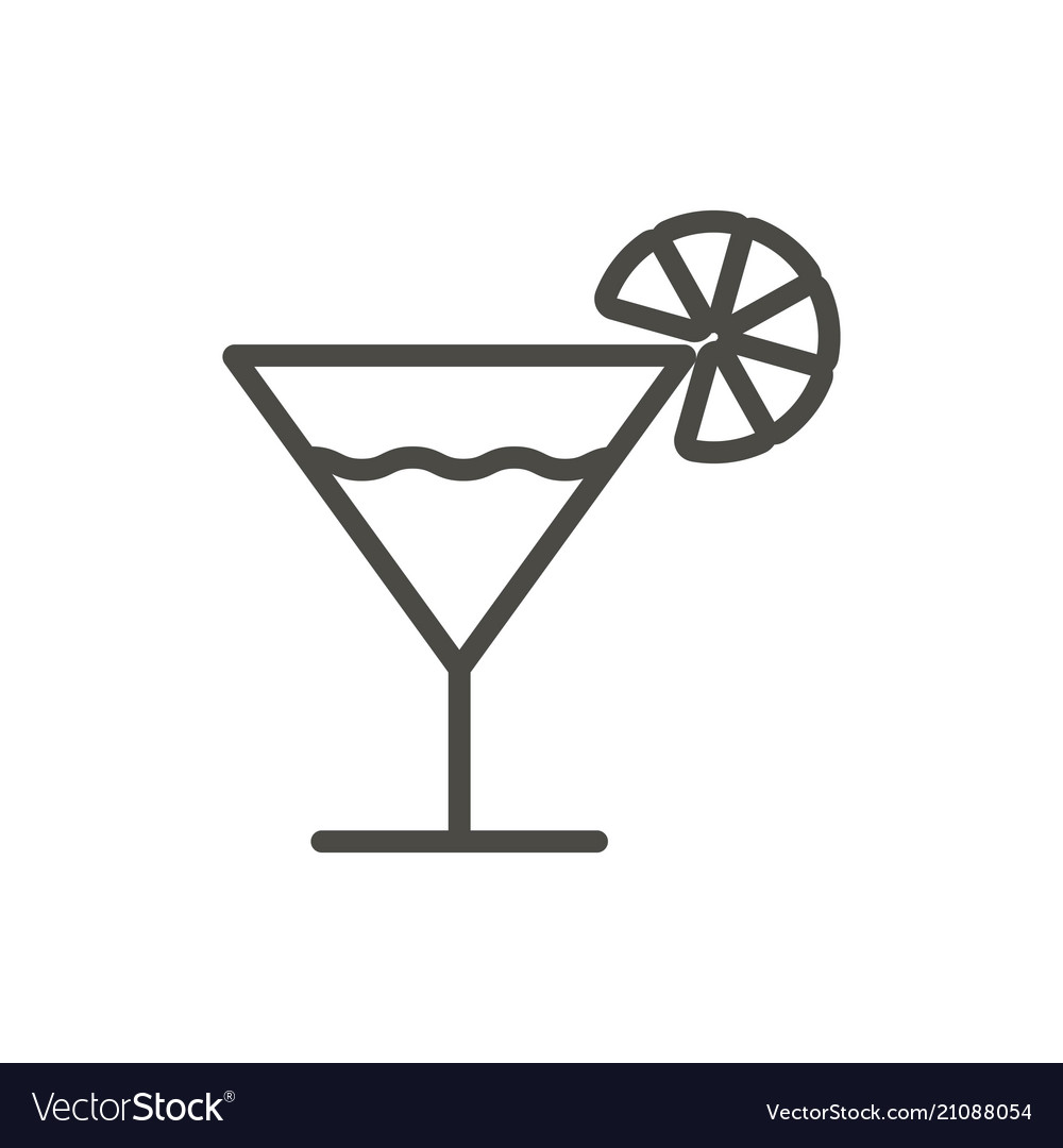 Cocktail icon outline glass line drink sy