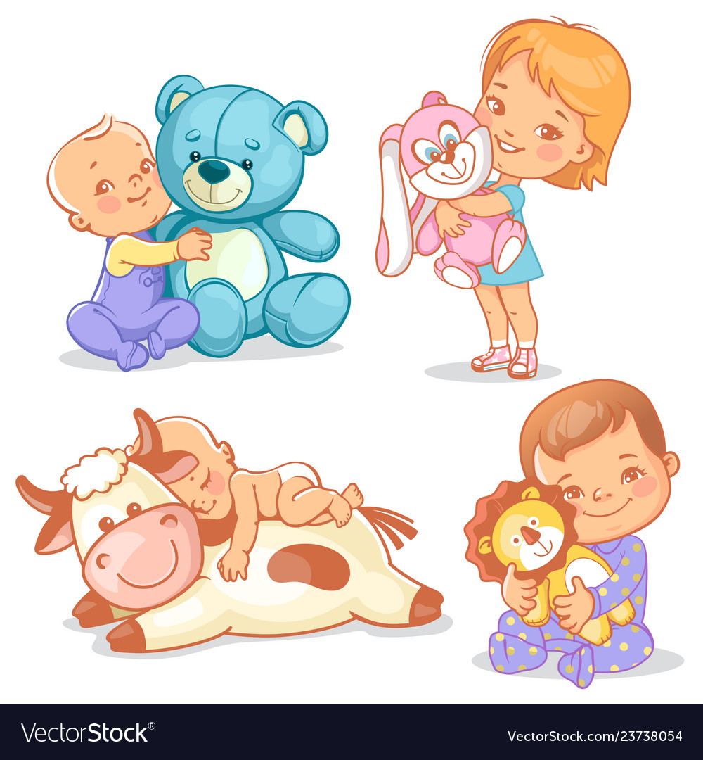 Cute kids with plush toys