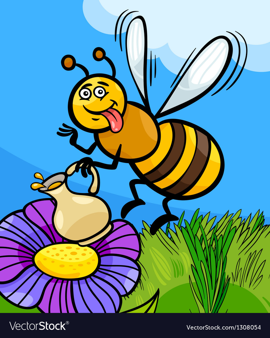 Honey bee insect cartoon