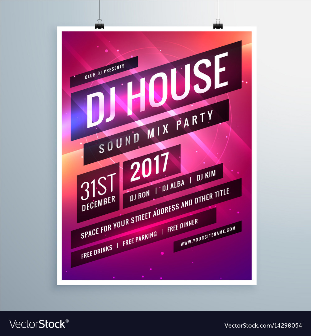 Music Sound Party Event Flyer Template In Vector Image On Vectorstock