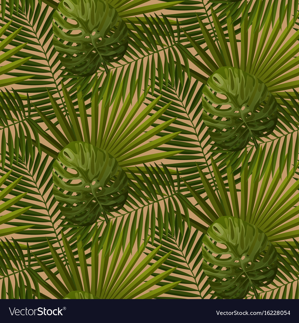 Retro Tropical Leaves Seamless Pattern Royalty Free Vector