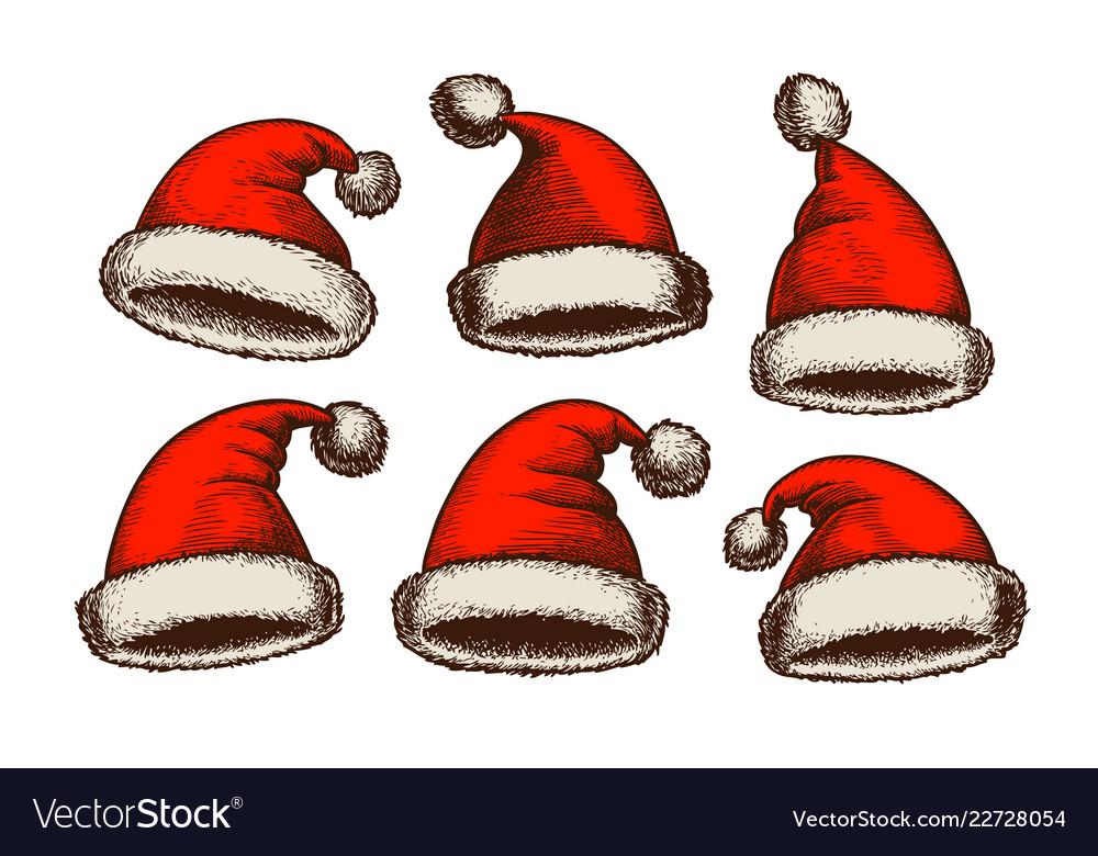 4bafcaa998bb2 Santa claus hat vintage christmas sketch Vector Image