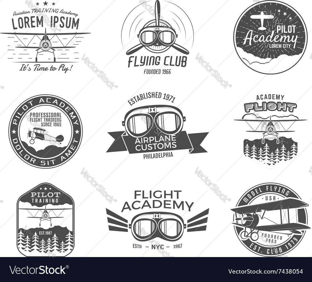Vintage airplane emblems Biplane labels Retro vector image