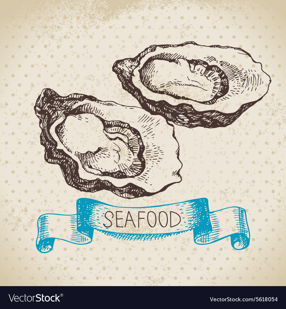 Vintage sea background Hand drawn sketch seafood